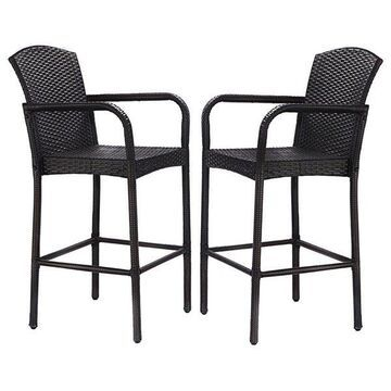 Costway 2PCS Rattan Wicker Bar Stool Dining High Counter Chair Patio Armrest