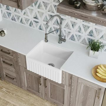 MR Direct 414 Fireclay Single Bowl Farmhouse Kitchen Sink
