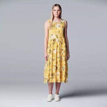 Petite Simply Vera Vera Wang Shirred Waist Midi Dress, Women's, Size: XL Petite, Yellow