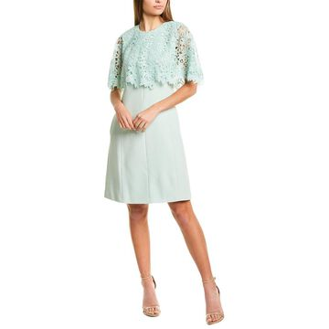 Lela Rose Lace Capelet Tunic Dress