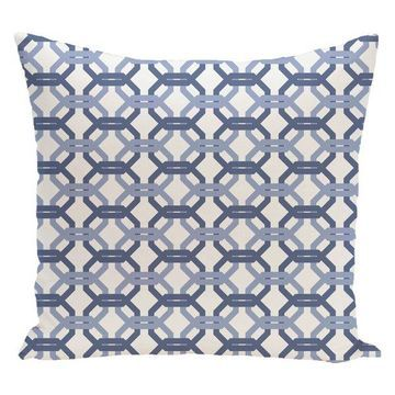 We'Re All Connected Geometric Print Pillow, Cadet, 26