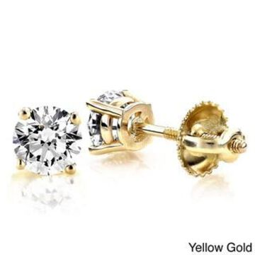Luxurman 14k Gold 1ct TDW Round Diamond Stud Earrings (Yellow)