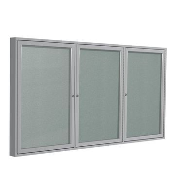 Ghent 3 Door Enclosed Vinyl Bulletin Board with Satin Frame 3H x 6W Silver