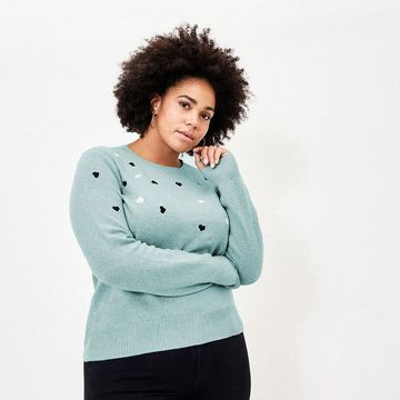 CURVE EMBROIDERED HEART JUMPER*
