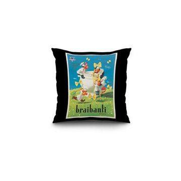 Braibanti Vintage Poster (artist: Rossetti) Italy c. 1954 (16x16 Spun Polyester Pillow, Black Border)