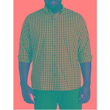 Big & Tall Harbor Bay Easy-Care Small Plaid Sport Shirt - Evergreen
