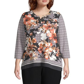 Alfred Dunner Geometric Floral Top-Plus