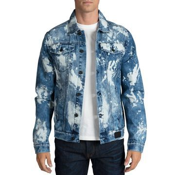 Men's Graphic-Logo Bleached Denim Jacket