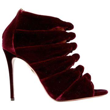 Aquazzura Burgundy Velvet Heels