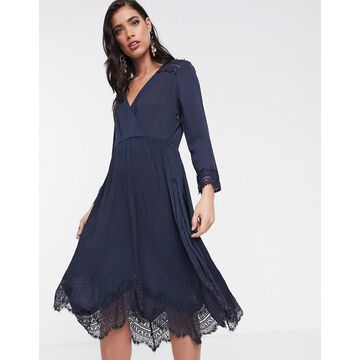 Liquorish wrap dress with pleated skirt and lace hem-Navy