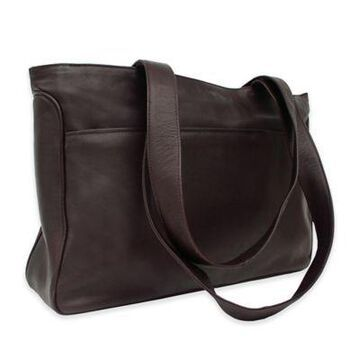Piel Leather Classic Slim Travel Tote in Chocolate