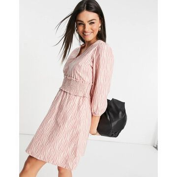 Y.A.S mini dress with shirred waistband in pink and white print-Multi