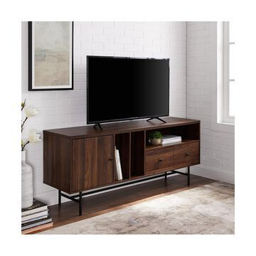 Walker Edison Console and Sofa Tables Dark - Dark Walnut 60'' Modern TV Console & Record Storage
