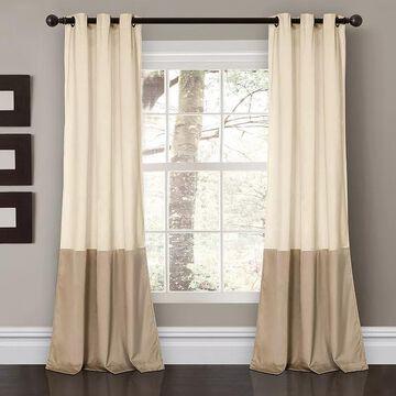 "Lush Decor 2-pack Prima Velvet Color Block Room Darkening Window Curtains - 38"" x 84"", Lt Brown, 38X84"