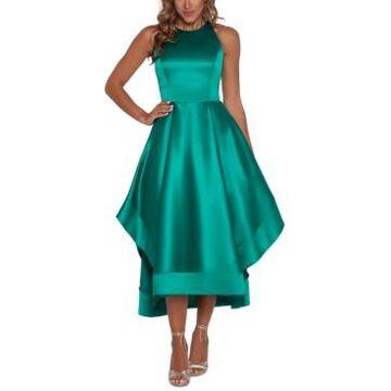 Betsy & Adam Satin High-Low Halter Dress
