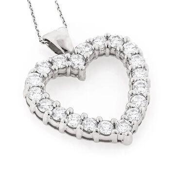 Luxurman 14k Gold 3 1/5ct TDW Diamond Heart Necklace