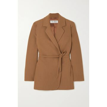 Max Mara - Squaw Belted Wool-blend Crepe Blazer - Brown