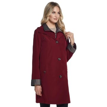 Women's Gallery Contrast-Trim Hood Rain Jacket