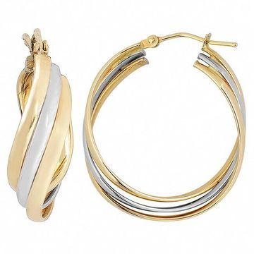 Fremada 10k Two-tone Gold High Polish Overlapping Twist Hoop Earrings (Twisted earrings)