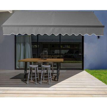 ALEKO Black Frame 13'x10' Motorized Retractable Home Patio Canopy Awning Grey (Grey)