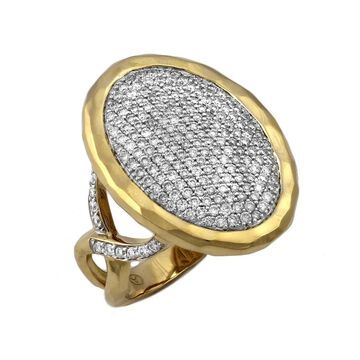14kt Yellow Gold 1 ct Diamonds Oval Pave Ring by Beverly Hills Charm - White H-I