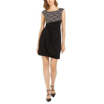 Connected Petite Glitter-Lace Sheath Dress