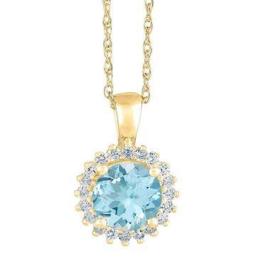 Premier 1.50cttw Round Aquamarine & Diamond Pendant, 14K