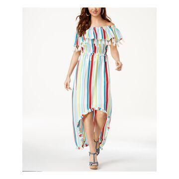 XOXO Womens White Striped Tassel Trimmed Short Sleeve Off Shoulder Maxi Hi-Lo Dress Juniors Size: XXL