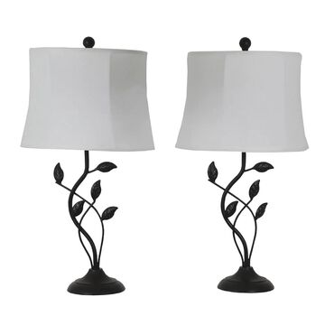 Decor Therapy 26-in Painted Bronze 3-Way Table Lamp with Linen Shade (Set of 2) | MP1656