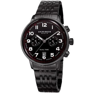 Akribos XXIV Men's Quartz Dual Time Easy-to-Read Stainless Steel Black Bracelet Watch (Black)