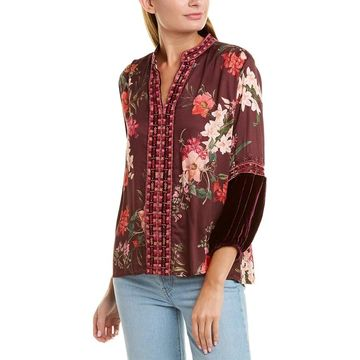 Johnny Was Silk-Blend Blouse