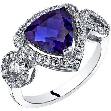 Oravo 14k White Gold Created Sapphire Ring Trillion Cut 2.50 carat (9)