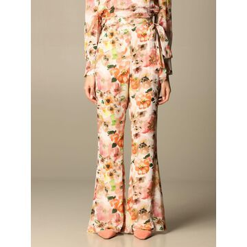 Wide Patrizia Pepe trousers in viscose with floral pattern