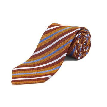 Ermenegildo Zegna Men's Silk Textured Striped Tie Orange/Red - No Size