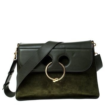 J.W.Anderson Dark Green Suede and Leather Pierce Shoulder Bag