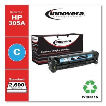 Innovera Remanufactured Cyan Toner Cartridge, Replacement for HP 305A (CE411A), 2,600 Page-Yield -IVRE411A