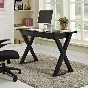 Walker Edison Metal Computer Desk with Drawer, Black