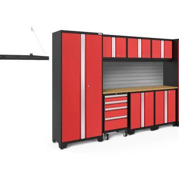 NewAge Products Bold Series 132-in W x 77.25-in H Deep Red Steel Garage Storage System | 50381