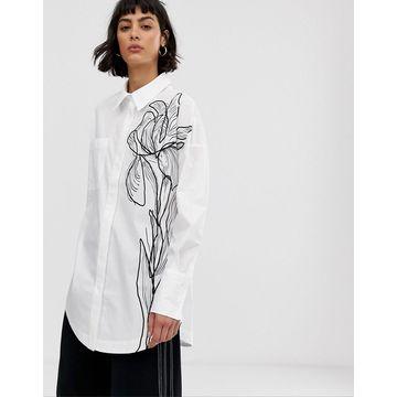 ASOS WHITE sketch print floral shirt