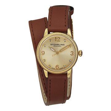 Stuhrling Original Women's Vogue Swiss Quartz Austrian Crystal Leather Strap Watch - Gold (Stuhrling Original Women's Watch)