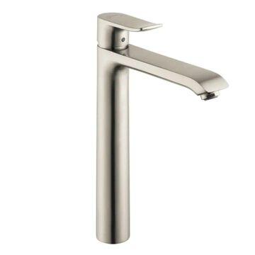 Hansgrohe Metris Brushed Nickel 1-Handle Single Hole WaterSense Bathroom Sink Faucet with Drain   31183821