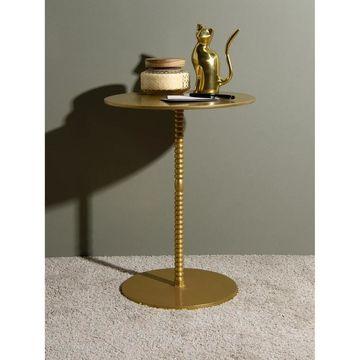 Aurora Home Orissa Brass Finish Pedestal Table - 15