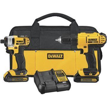 DEWALT 20V MAX Cordless Lithium-Ion Drill/Driver and Impact Driver Combo Kit - 2 Batteries, ModelDCK240C2