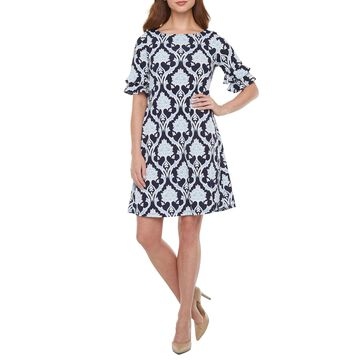 Ronni Nicole Short Tiered Sleeve Scroll Puff Print Shift Dress