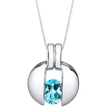 Oravo Swiss Blue Topaz Sterling Silver Starship Pendant Necklace