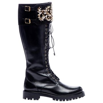 Rene Caovilla Black Leather Boots