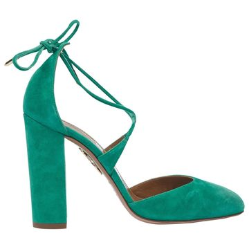 Aquazzura Green Suede Heels