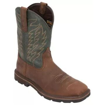 Ariat Dalton Western Work Boots for Men - Brown/Pine Green - 10.5W