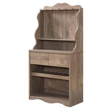 Furniture of America Hazleton Rustic Kitchen Cabinet, Hazelnut