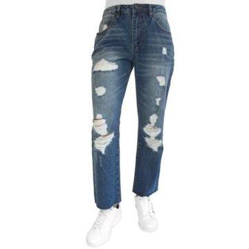 Almost Famous Juniors' Ripped Raw-Hem Boyfriend Jeans